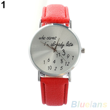 """Women Watch """"Who Cares"""" Faux Leather Band Quartz Date Round Dial Analog Wrist Watch"""