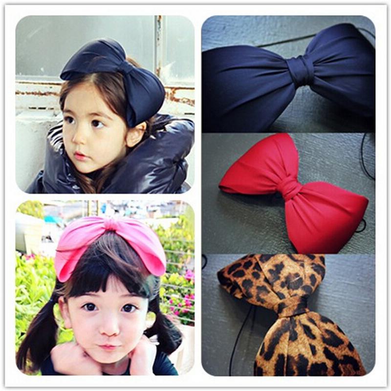 New Fashion Big Bowknot Headband Handmade Ribbon Cloth Leopard Hairbands Kids Children Hair Barrette Accessories(China (Mainland))