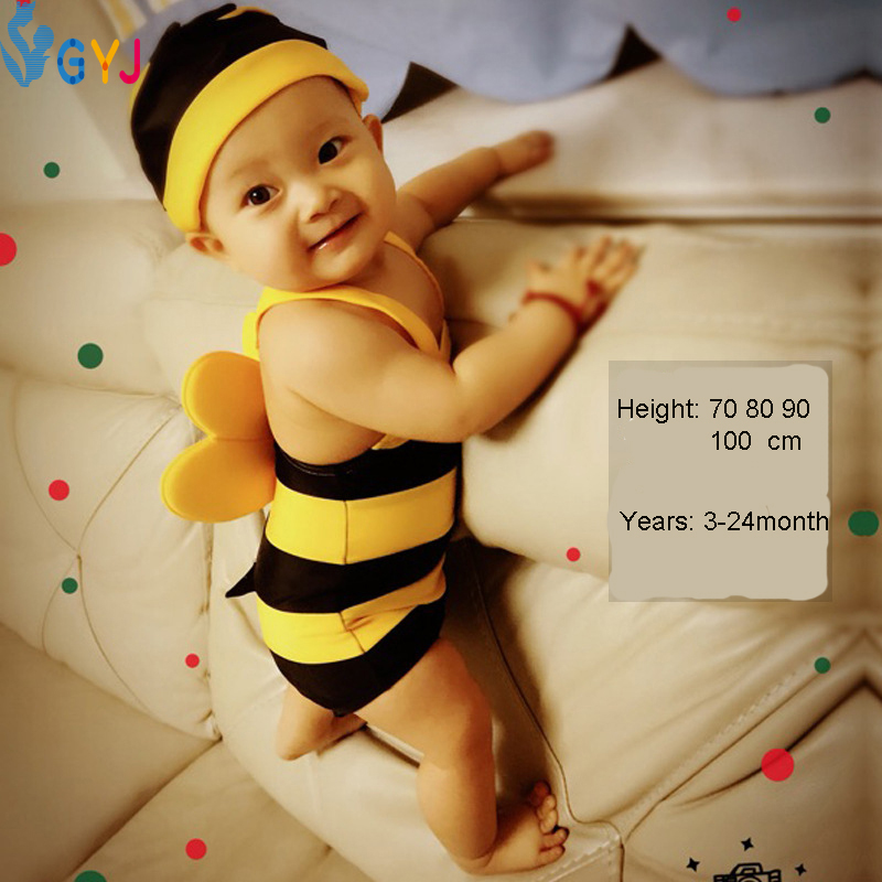 Baby swimsuit girls 70-100cm bee carton baby swimwear baby bathing suits for girls toddler baby swimsuits infant 2016 piece hats(China (Mainland))