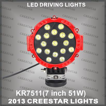 Discount sale 51W Truck LED Work light Super star light spot beam & flood beam for ATV or Boat Light KR7511(China (Mainland))