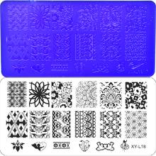 1PC Flower/Lace/Geometry/Animal Stamping Plates Nail Art Image Square Printing Image Stencils Acrylic 12x6cm Print  XYL01-31(China (Mainland))