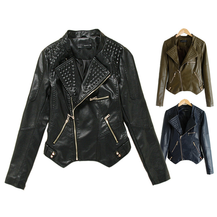 Rivet Women Brand Faux Soft Leather Jackets Pu Black Blazer Zippers Coat Motorcycle Outerwear 2014 New Fashion - South Omi store