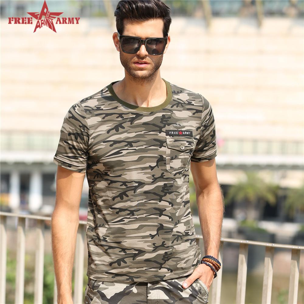 2016 New Design tshirt Men Summer Short Sleeve Sport Fitness Cotton Pocket Decoration Camouflage brand clothing MS-6308B Z35(China (Mainland))
