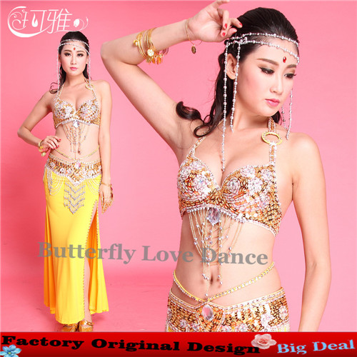 New arrival india dancing costumes for women for belly dancing performance new design with ( bra + belt +skirt )