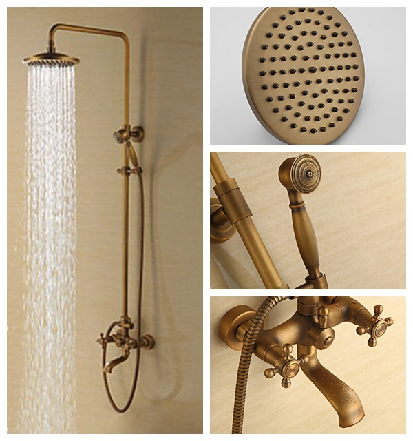 Rain Shower Faucets Antique Brass Tub Shower Faucet With 8 Inch Shower Head H