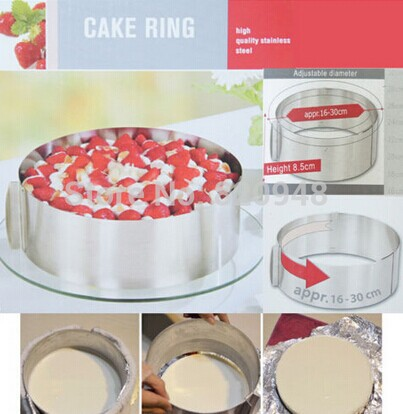 Continuing Hot Selling Children's Day 1 pc 6 to 12 inch 400G Mousse Ring Cake Stainless Steel Circle Adjustable Cake Mould Mold(China (Mainland))