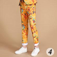 PYJTRL Merk 2018 Tij Mannen Kleurrijke Bloemenprint Slim Fit Pak Broek Plus Size Hip Hot Man Mode Casual Broek jurk(China)