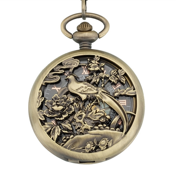 20pcs/lot Retro Skeleton Relogio De Bolso Men women Hand Wind Mechanical Pocket Watch with bird flower Hollow Clock Watch<br><br>Aliexpress