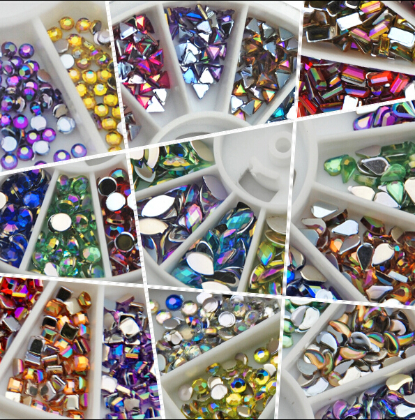 HOTSALE AB 3*6 mm Tear Nail Art Decorations Rhinestone 120PCS in 12 Color for nail accessories for nail decoration(China (Mainland))