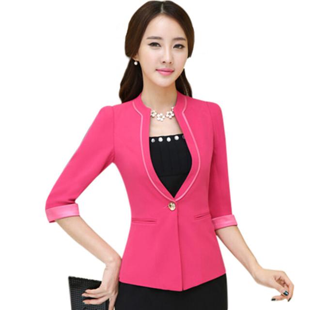 Высокое качество мода тонкие дамы пиджак 2015 летний новый элегантный полурукав Большой ...