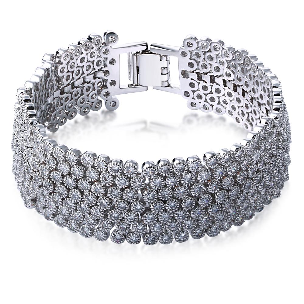 Party Bracelet white gold plated w/ white cz charming bracelets love bracelet for women new design Free shipment(China (Mainland))