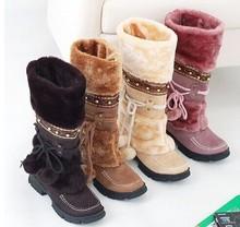 Recién llegado de la nieve otoño invierno mujeres botas hasta la rodilla caliente de piel diseñador moda casual botas de cuero zapatos de nieve mujer(China (Mainland))