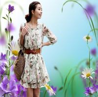 Red Green SML XL Wild Style! Women's Floral chiffon Slim Waist dress With Belt