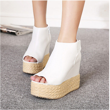 New white peep toe wedge straw ankle bootie magic stick women platform shoes sexy high heels shoes(China (Mainland))