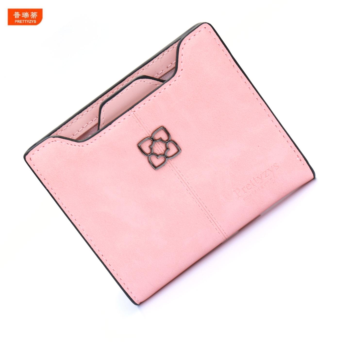 Oil PU women wallet small love heart thin wallet fashion girl purse short pattern(China (Mainland))