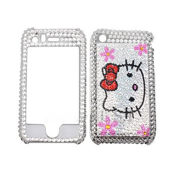 Free Shipping Bling cell phone case White Hello kitty Bling Rhinestones Hard plastic Full Cover Case for Apple Iphone 3G 3GS