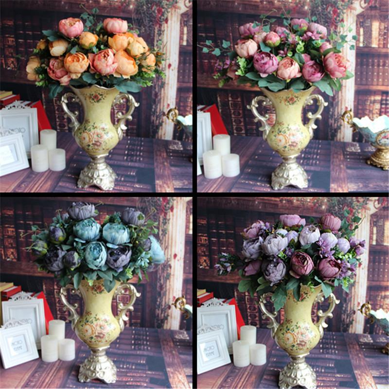 Silk Floral 12 Heads Flowers Bridal Flower Arrangement Home Wedding