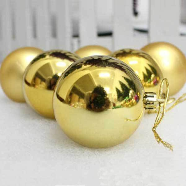 Clarkviller Christmas Baubles 3cm Golden 6 Pack Christmas Decoration Ornament(China (Mainland))
