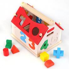 Wooden Building block houses Toy Geometry box pairing House Digital Number Kids Children Building Educational(China (Mainland))