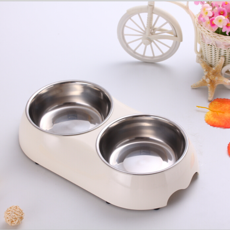 2015 New Pet Dog Cat Products White S/M Melamine Plastic Stainless Steel Dog Bowl Double Dogs Feeding & Watering Supplies(China (Mainland))