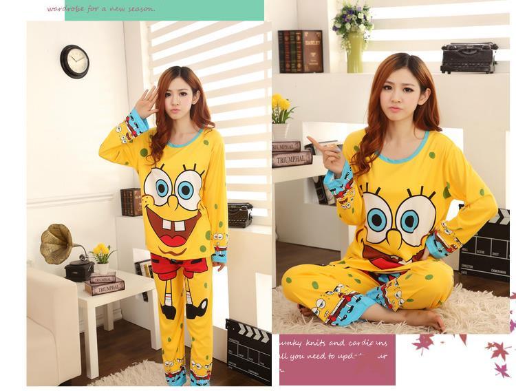 Full Sleeve Spongebob Print Yellow Pajamas Set Women cotton clothing set,sweet female lady twinset nightwear sleepwear ZK050  -  JKX Trade Co., Ltd store