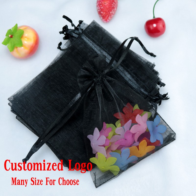 Hot Sale 1000pcs black Bronzing Organza Pouch Gift Candy Jewellery Packaging Drawable Bags Wedding Party Favor 7cmx9cm(China (Mainland))