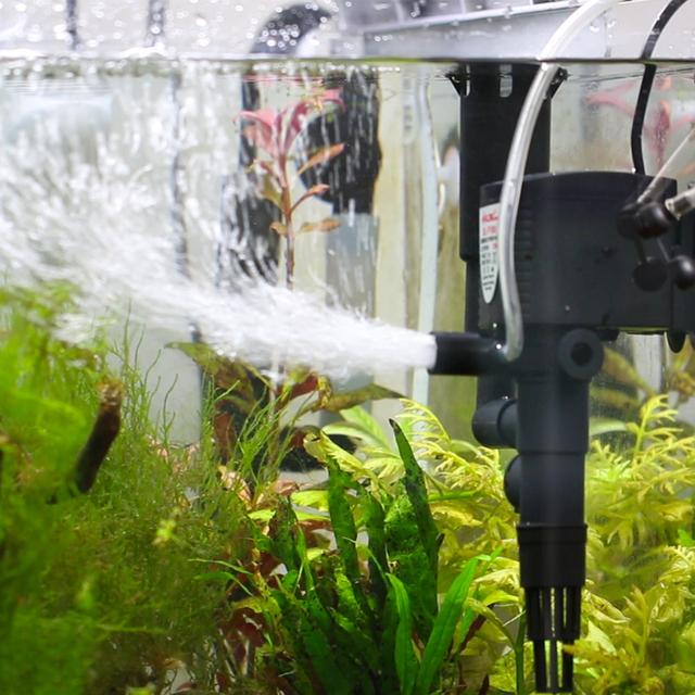 Aquarium fish tank filter circulation pump triple built for Fish tank with built in filter
