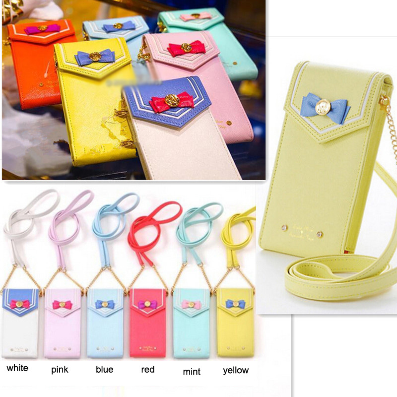 2015 New Samantha Vega Sailor Moon Ladies Bag Leather Women Shoulder Messenger Crossbody Bags Pouch For iPhone 4 5 6 Phone Cases(China (Mainland))