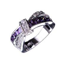 Crossed Amethyst Wedding Engagement Ring Wholesale Cross Finger Ring Luxury Purple Jewelry(China (Mainland))