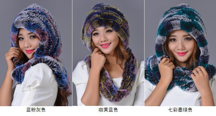 Rex Rabbit Fur Hat Scarf Snow Cap Winter Warm Thickened Ear Protecting Headgear Beanies Thickening Scarf Windproof  Caps Fur Hat