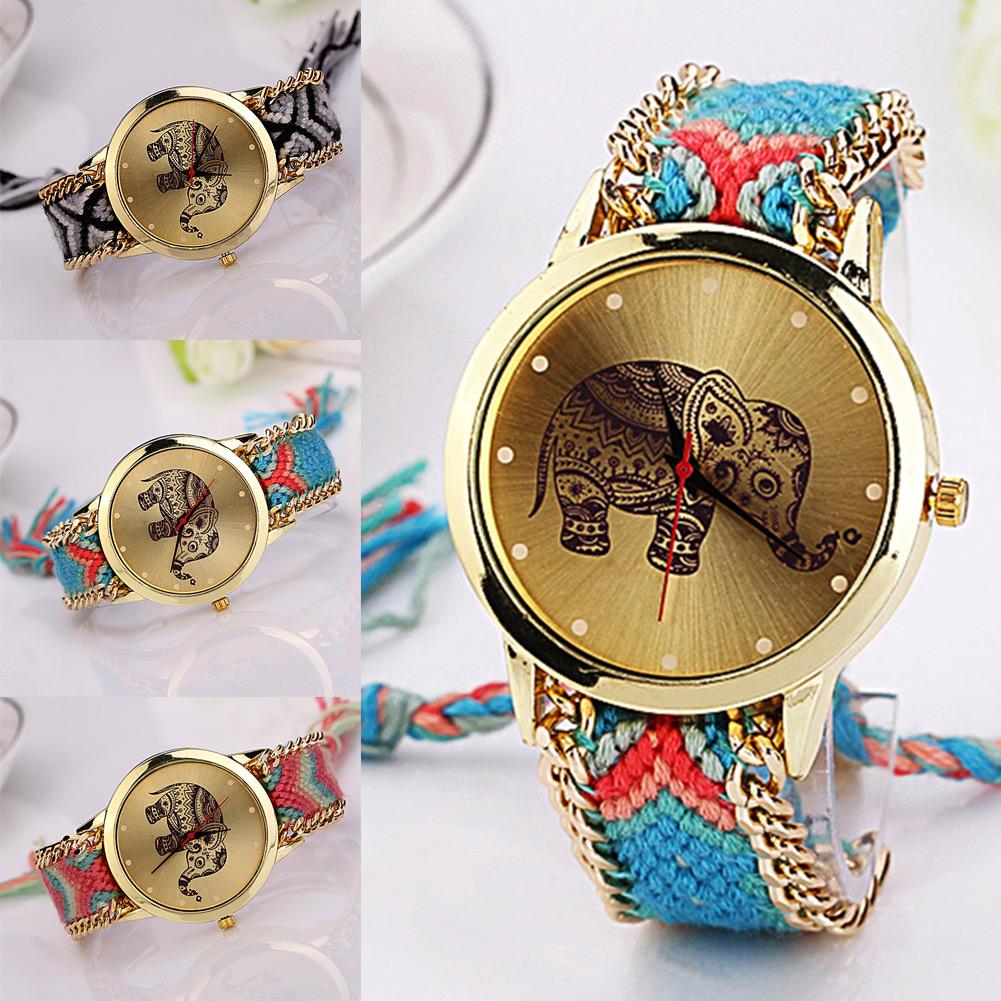 Гаджет  New Hot Unique Braided Rope Elephant Bracelet Watches Bohemian Hand Made Watch Women Quartz Wristwatch None Часы
