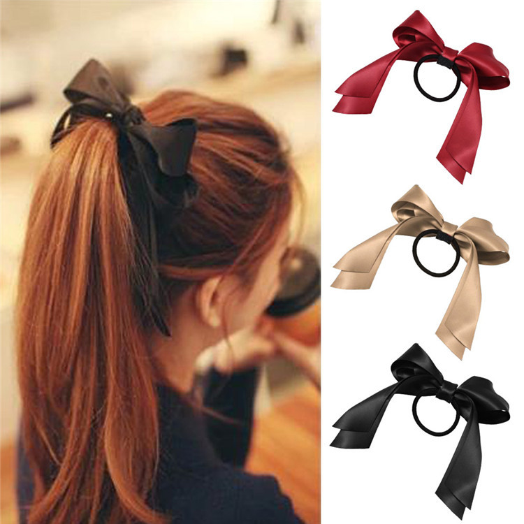 Lackingone *2015 hair accessories1 piece Women Tiara Satin Ribbon Bow Hair Band Rope Scrunchie Ponytail Holder 7 Color Hot(China (Mainland))