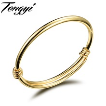 Fashion 18K Gold Plated Baby Bangle Newborn Infant Gift Adjustable Style Classic Lucky Bangle Jewelry For Baby Girls TY486(China (Mainland))