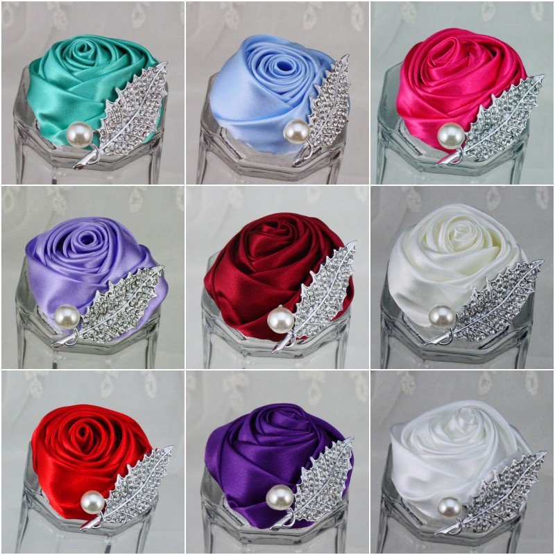 5Pcs/lot New Wedding Groomsman Groom Boutonniere Party Prom Man Corsage Hand Custom Made Satin Rose Men Suit Brooch Pin Flower(China (Mainland))
