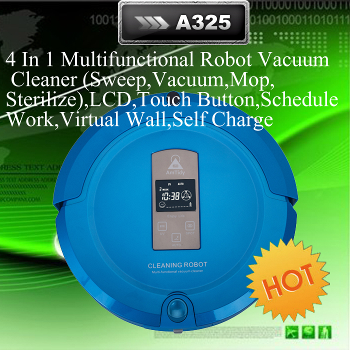 AmTidy Robot Vacuum Cleaner ,LCD,Touch Button,Schedule Work,Virtual Wall,Self Charge (Sweep, Vacuum, Mop,Sterilize)(China (Mainland))