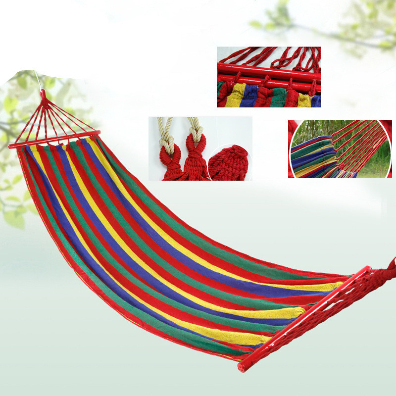 200*80 Canvas Double Spreader Bar Hammock With Wooden Garden Camping Swing Hanging Bed Outdoor Furniture Hamacas De Dormir Ramak(China (Mainland))