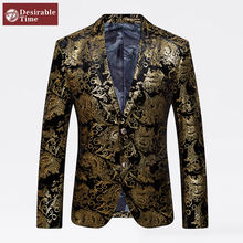 Gold Blazer Men Floral Casual Slim Blazers 2016 New Arrival Fashion Party Single Breasted Men Suit Jacket Plus Size M-4XL XF06(China (Mainland))