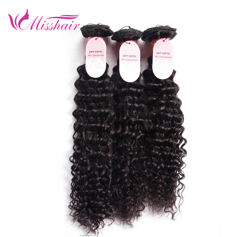 H and J Hair Virgin Hair Products Malaysian Deep Wave 3 Bundle Deals Top 7A Malaysian Deep Curly Hair Milky Way Human Hair Weave(China (Mainland))