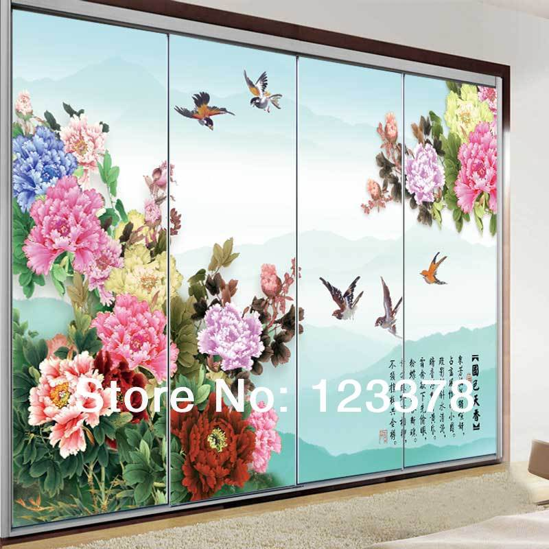 Free Shipping Glass Stickers Cabinet Door Film Transparent