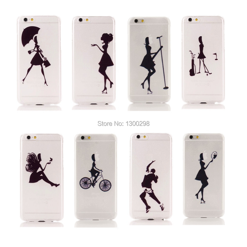 Ultra Thin Hard PC Case 4.7 inch for iPhone 6 6G Mobile Phone Bag for iPhone6 apple Logo Clear Fashion Pretty Girls Back Cover(China (Mainland))