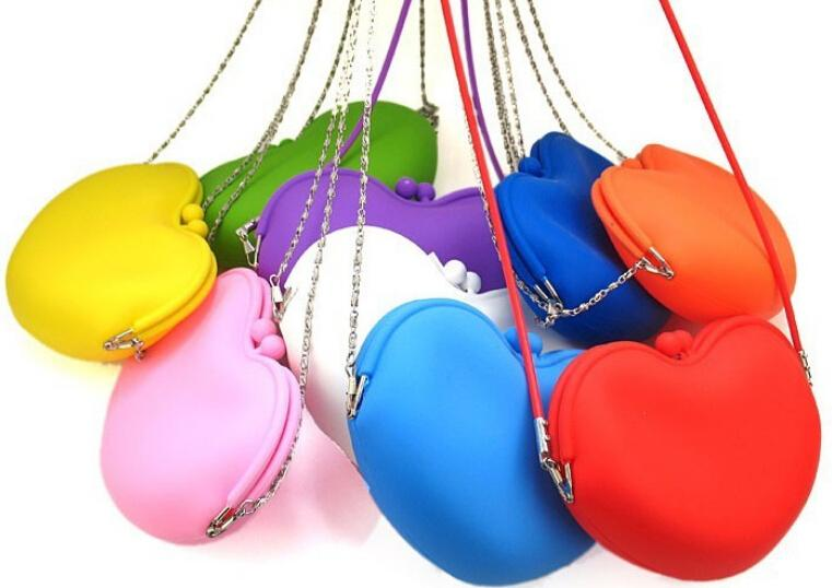 5pcs lot New Arrival Women s heart design Silicon mini Bag Handbag Shoulder Bag candy colors