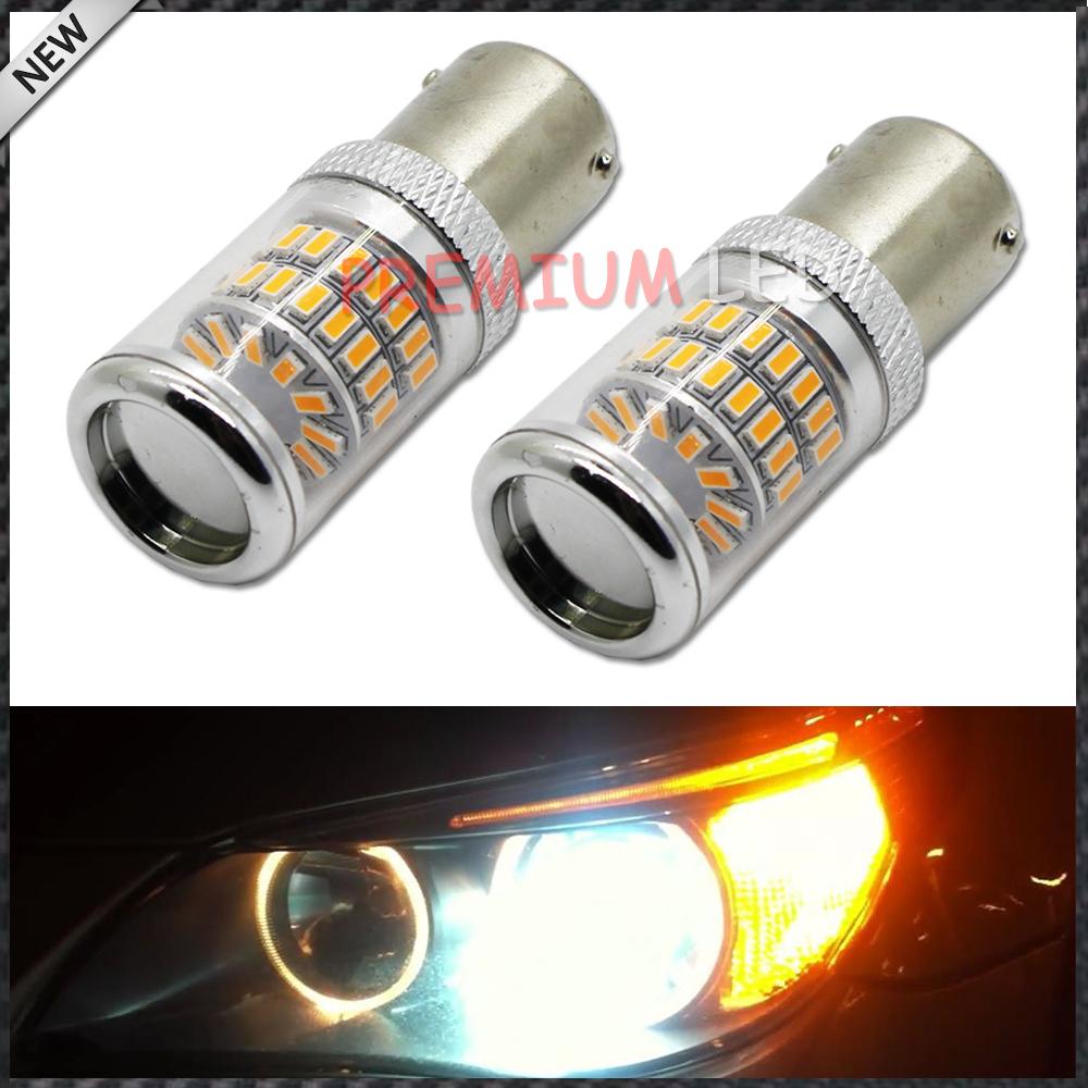 2pcs Amber Yellow Error Free BAU15S 7507 PY21W 1156PY LED Bulbs w/ Reflector Mirror Design For car Front Turn Signal Lights(China (Mainland))