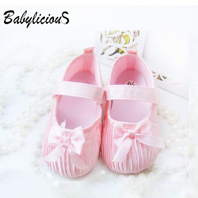 Retail Top baby ribbon flower Baby shoes Infant shoes,baby silk shoes pink girl shoes 3-12Mons(China (Mainland))