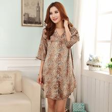 New Style Leopard Women's Silk Rayon Nightgown Sexy Mini Sleepshirt Bath Robe Gown Intimate Lingeri Sleepwear One Size WR097(China (Mainland))