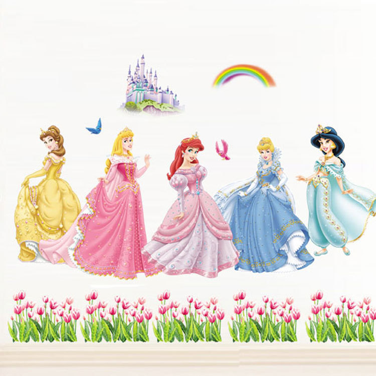 """140 x 100 cm (55 """"x 340"""") Princess wall stickers for kids rooms home decoration DIY Adesivo Parede bedroom bathroom Mural(China (Mainland))"""