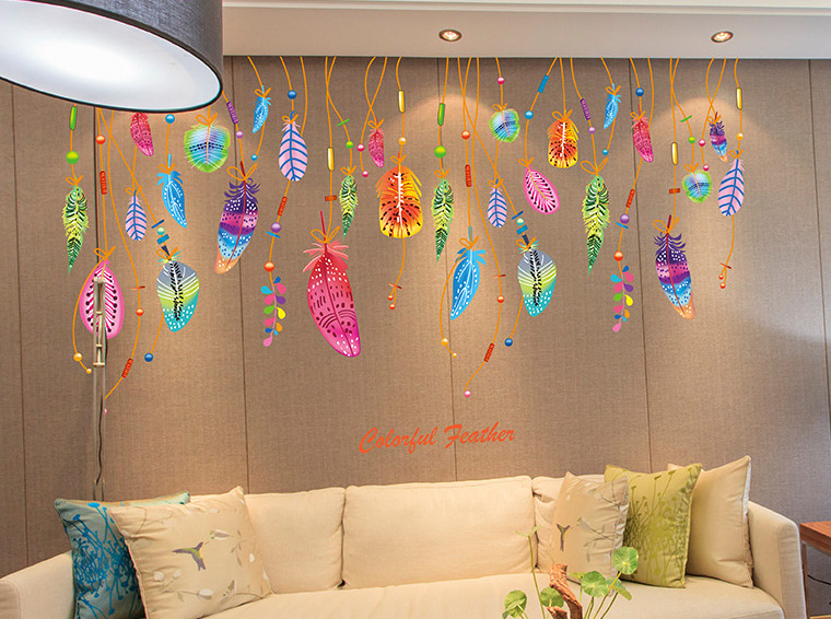 Colorful Feathers Pendant Wall Decal Sticker Unique Kids