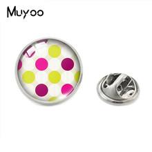 Klasik Bulat Kecil Tempat Garis Titik-titik Ripple Kaca Cabochon Kerah Pin Pola Geometris Perhiasan Pin Handmade Pakaian Pin(China)