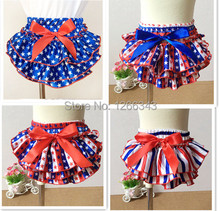 Posh American Patriotic Satin Bloomer -Ruffle Baby Festival Wearing- Diaper Cover With Satin Bow 4pcs/lot(China (Mainland))