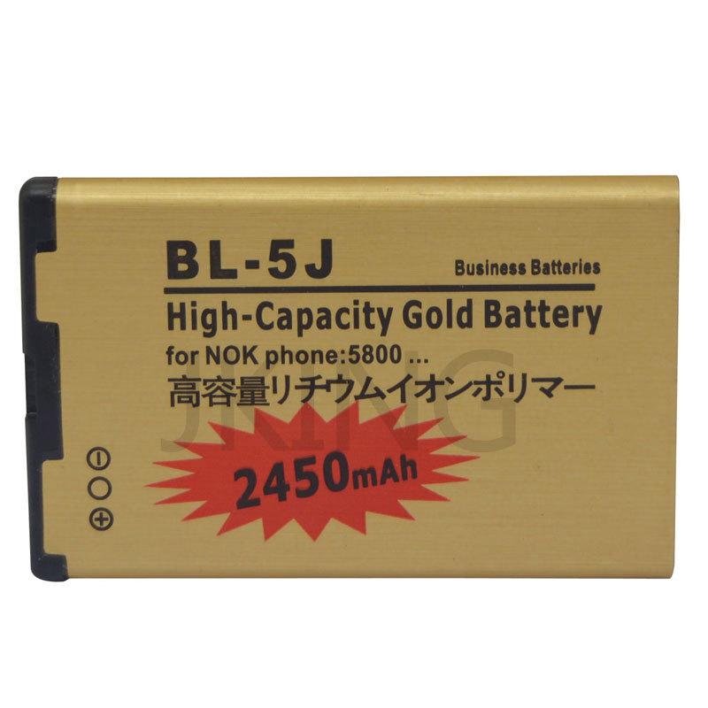High Capacity 2450mAh Golden BL-5J Battery For Nokia 5800 XpressMusic BL5J Nuron 5230 C3 5228 X6 X9 Batterie Battery