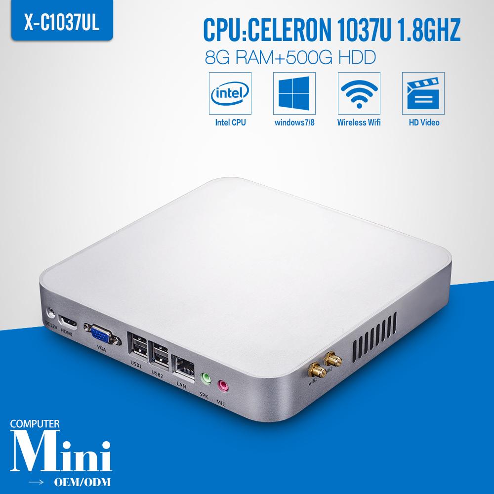 Fanless Design Celeron C1037U 8G RAM+500G HDD Mini PC Desktop Computer Support Win 7 XP System Thin Client Latest Mini Computer(China (Mainland))